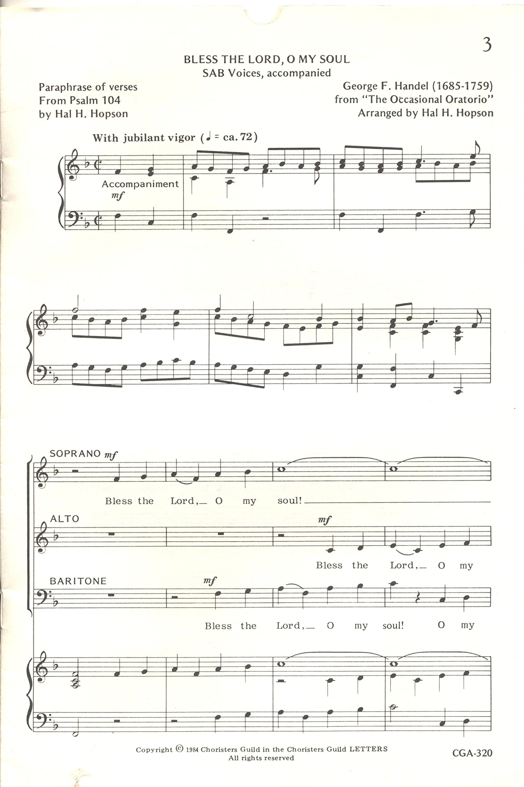 Bless The Lord, O My Soul - George Frideric Handel - Hal  H  Hopson