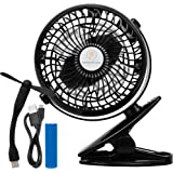 Battery Operated Clip On Fans-For Baby Stroller, Car Seat, Desk, W/Mini USB Fan: Enjoy 6 Hours of Use! Rechargeable Battery-Operated Clip-On Device, Compact & Portable for Bed, Camping, Office. Black