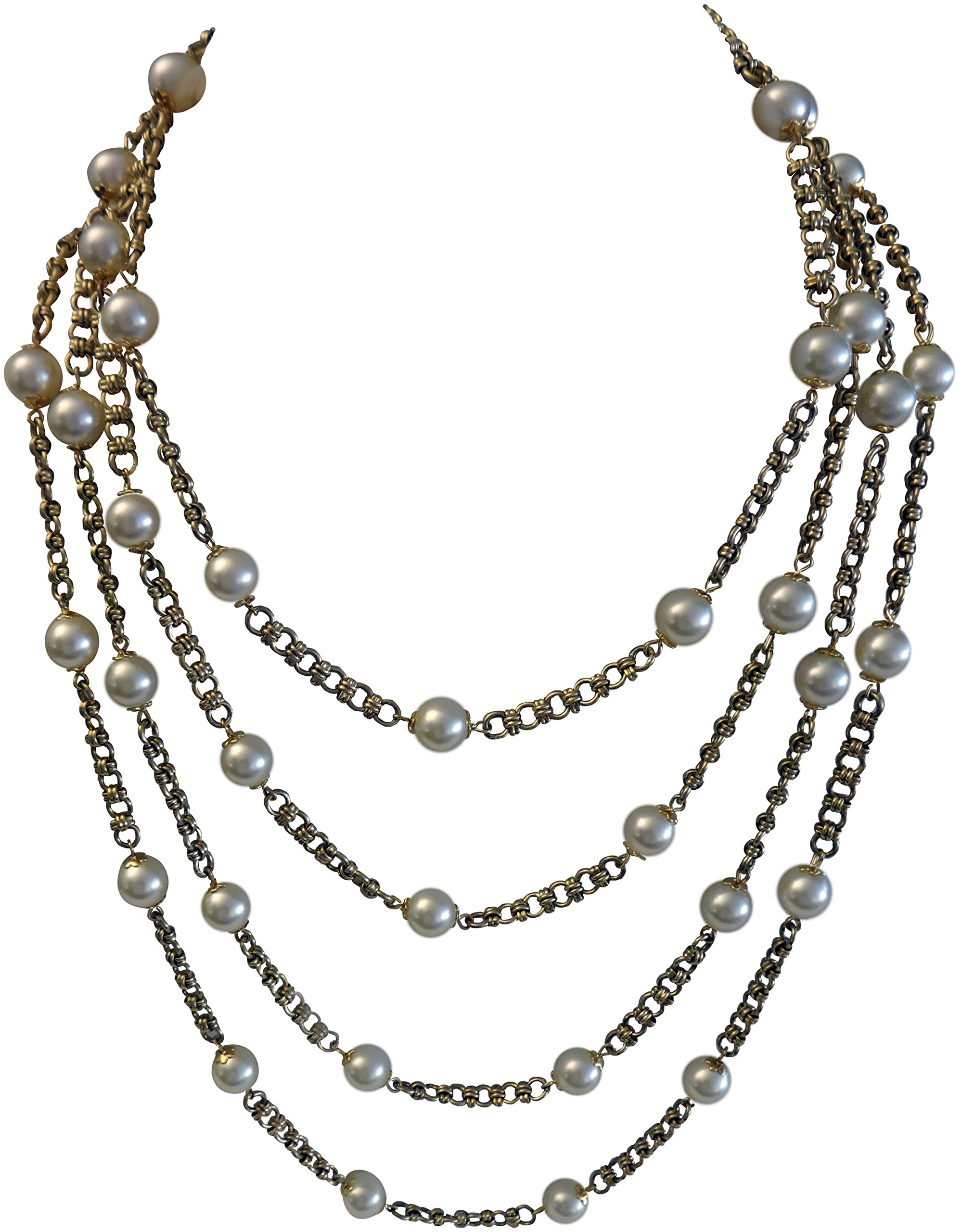 Kenneth Jay Lane-4 Row Gold Chain with White Pearl Stations Necklace by Kenneth Jay Lane
