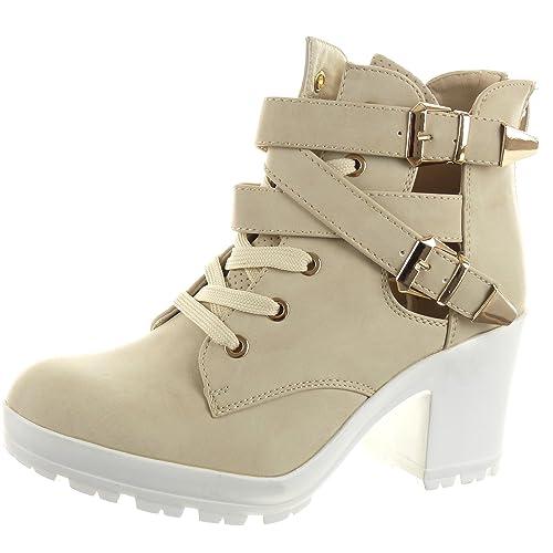 Sopily - Zapatillas de Moda Botines Low Boots Abierto Tobillo Mujer Sexy Tanga Hebilla Talón Tacón Ancho 8 CM - Beige FRF-LG783 T 41: Amazon.es: Zapatos y ...