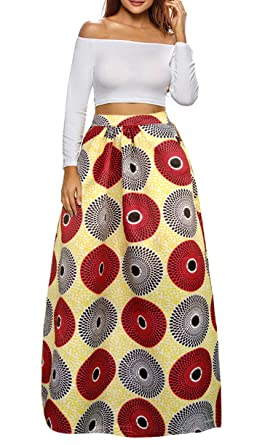 04f1cea88c0 Sinono Women s African Printed Maxi Skirt Flared A Line Long Skirts (Small