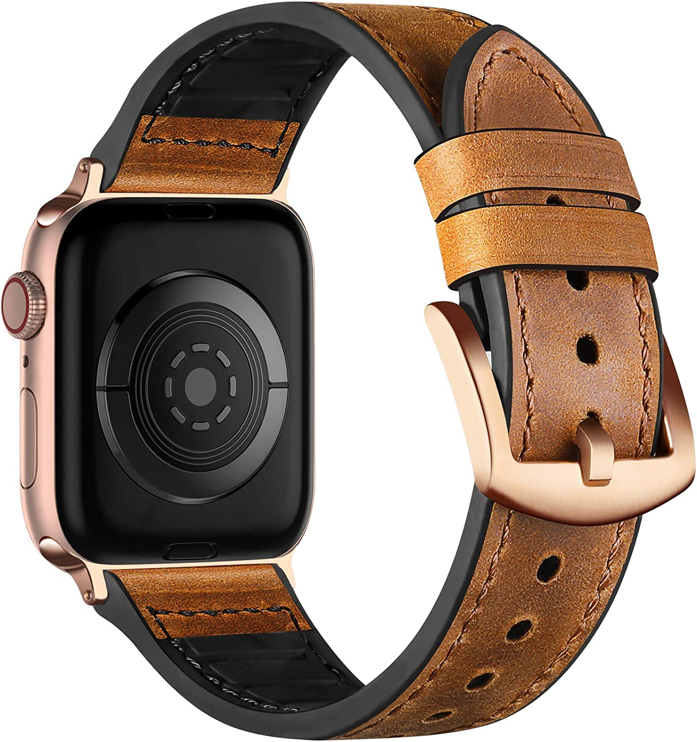 Muranne Leather Band Compatible with Apple Watch SE 40mm 38mm for Women Men, Genuine Leather Strap with Sweat Proof Rubber Compatible with iWatch Series 6 5 4 3 2 1, Dark Brown/Rose Gold Adapter