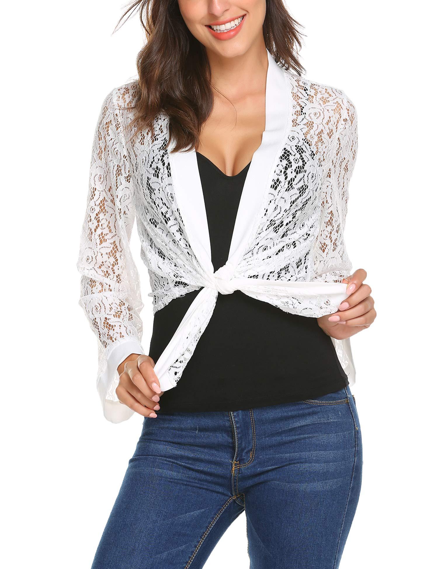 Women's Bell Sleeve Lace Bolero Jacket Cropped Shrug Cardigan Plus Size(White,XXL)