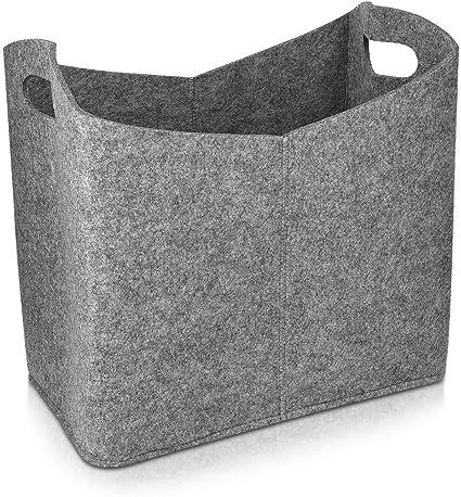 Toy Vaorwne Felt Firewood Basket 40 X 23 X 39.5 cm Set of 2 Newspaper Grey Magazine Fireplace Wood Bag Log Holder with Carry Handles for Wood