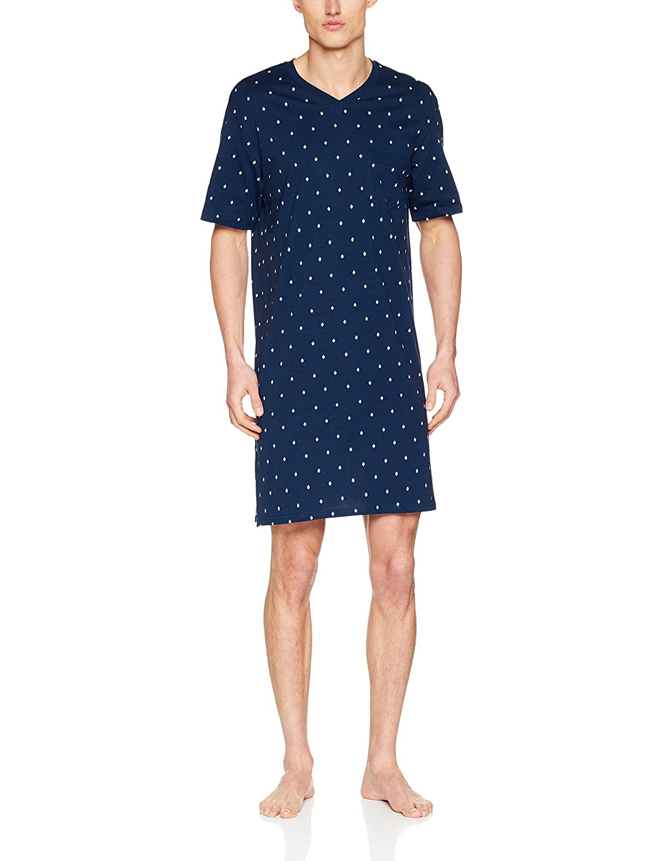Nachthemd 1/2, Pijama de Una Pieza para Hombre, Azul (Nachtblau 804), Large (Talla Del Fabricante: 052) Seidensticker
