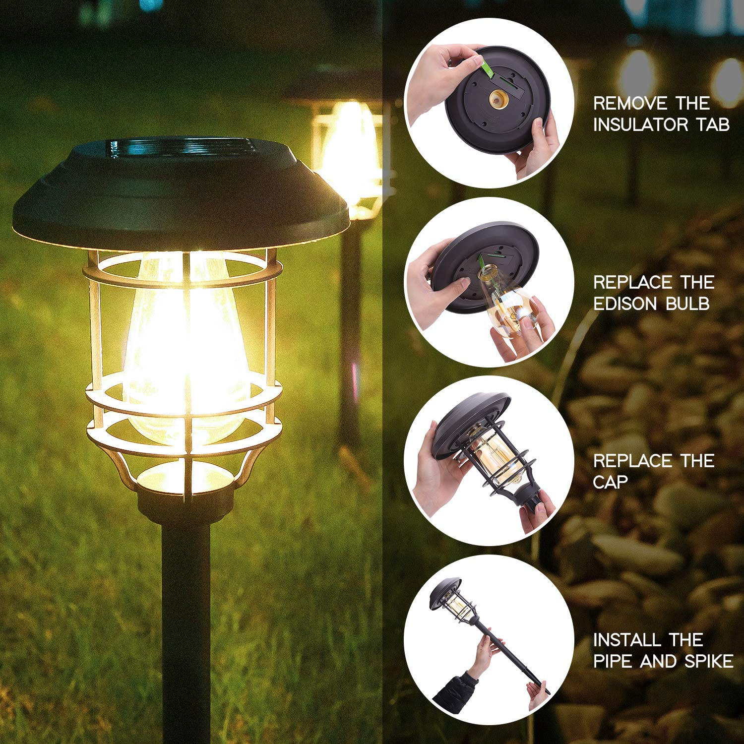 HECARIM Solar Lights Outdoor, 6 Pack Solar Pathway Lights, Solar Powered Garden Lights, Waterproof LED Solar Landscape Lights for Walkway, Pathway, Lawn, Yard and Driveway by HECARIM (Image #5)