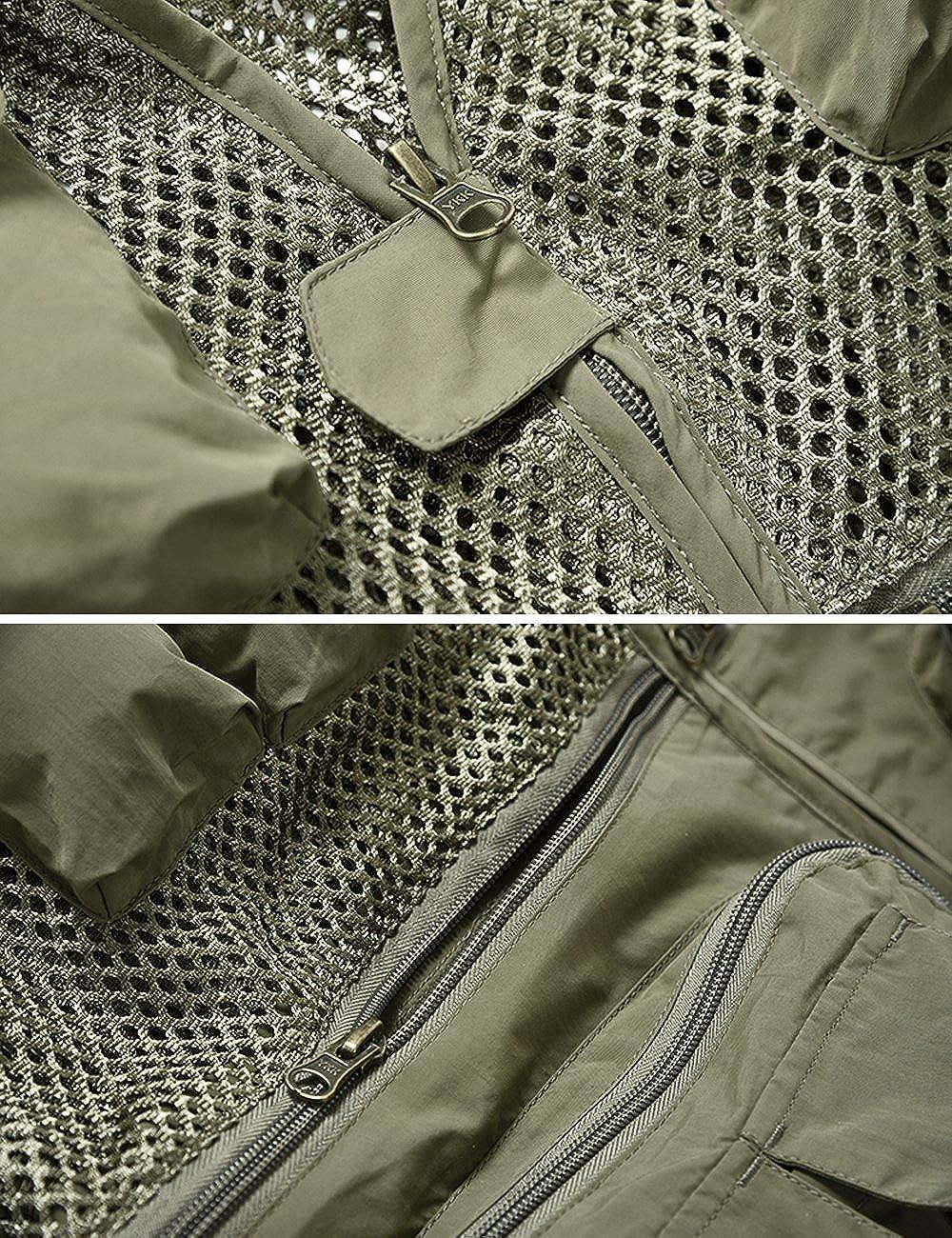Safari Gilet Estivo Traspirante con Molte Tasche Multifunzione KEFITEVD Gilet da Uomo per attivit/à allAria Aperta Leggero Gilet da Pescatore in Nylon