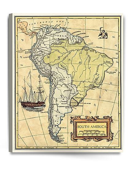Amazon Com Decorarts South America Map Wall Art Ancient Map