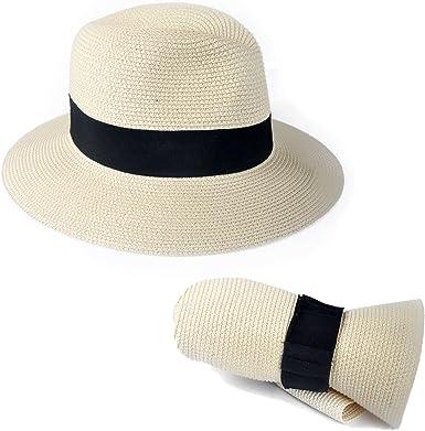 Ladies Straw Summer Panama  Cream Packable Fedora  Hat With Velvet Band