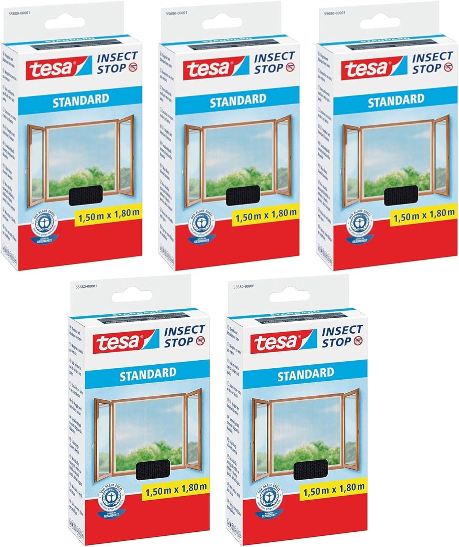 1,5m:1,8m, 3x Wei/ß Insektenschutz zuschneidbar Fliegen Netz tesa Insect Stop STANDARD Fliegengitter f/ür Fenster