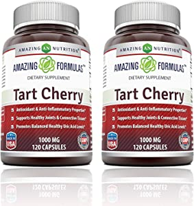 Amazing Formulas Tart Cherry Extract 1000 Mg Capsules - Non-GMO - Antioxidant Support - Promotes Joint Health & a Proper Uric Acid Level Balance (120 Count (Pack of 2))