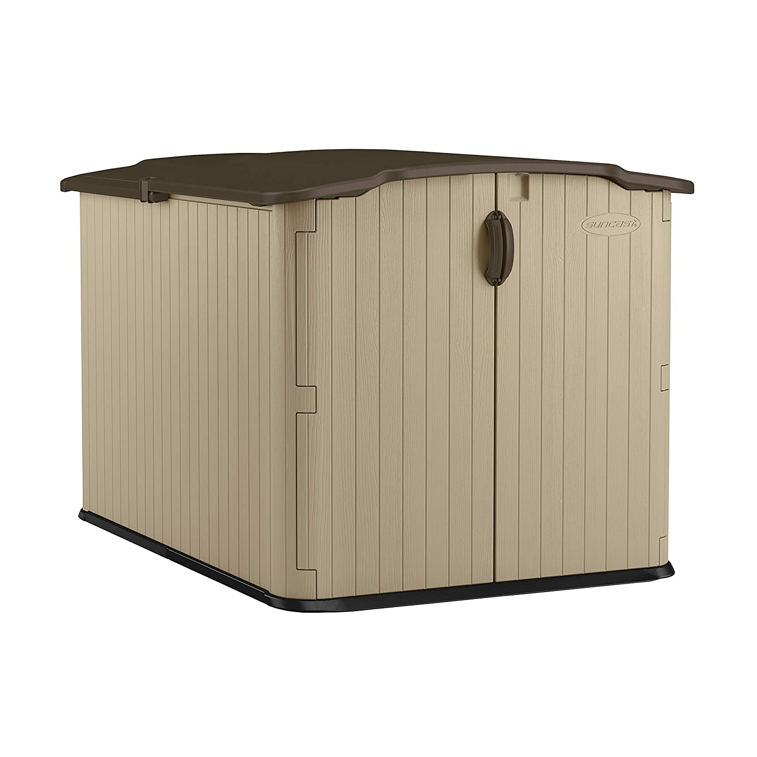 B006G66YSY Suncast 6' x 4' Glidetop Horizontal Storage Shed - Natural Wood-like Outdoor Storage for Trash Cans and Yard Tools - All-Weather Resin Material, Slide Lid Design and Reinforced Floor - Brown 81aXqYtqMHL._SL1500_