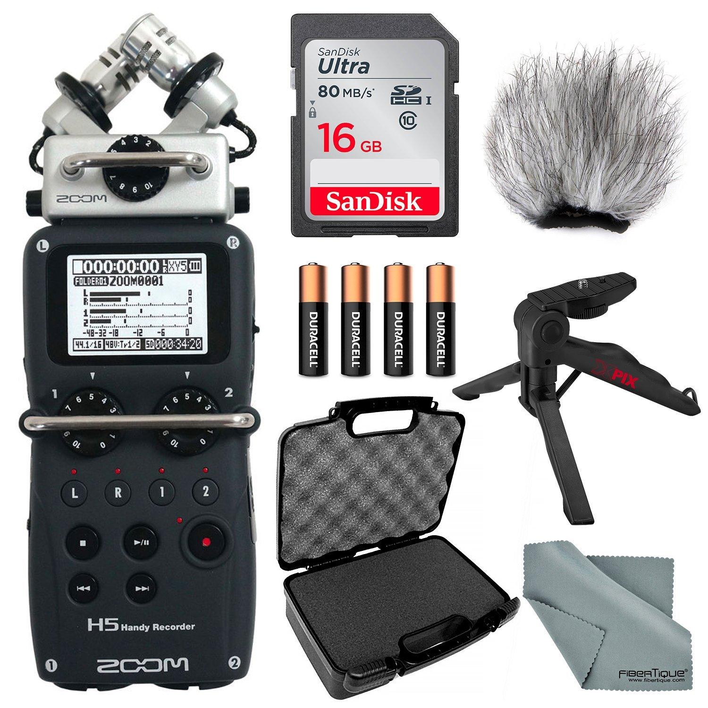 Zoom H5 Handy Recorder Bundle W/Case + Remote + Windscreen + XPIX Tabletop/Handgrip Tripod + FiberTique Cleaning Cloth
