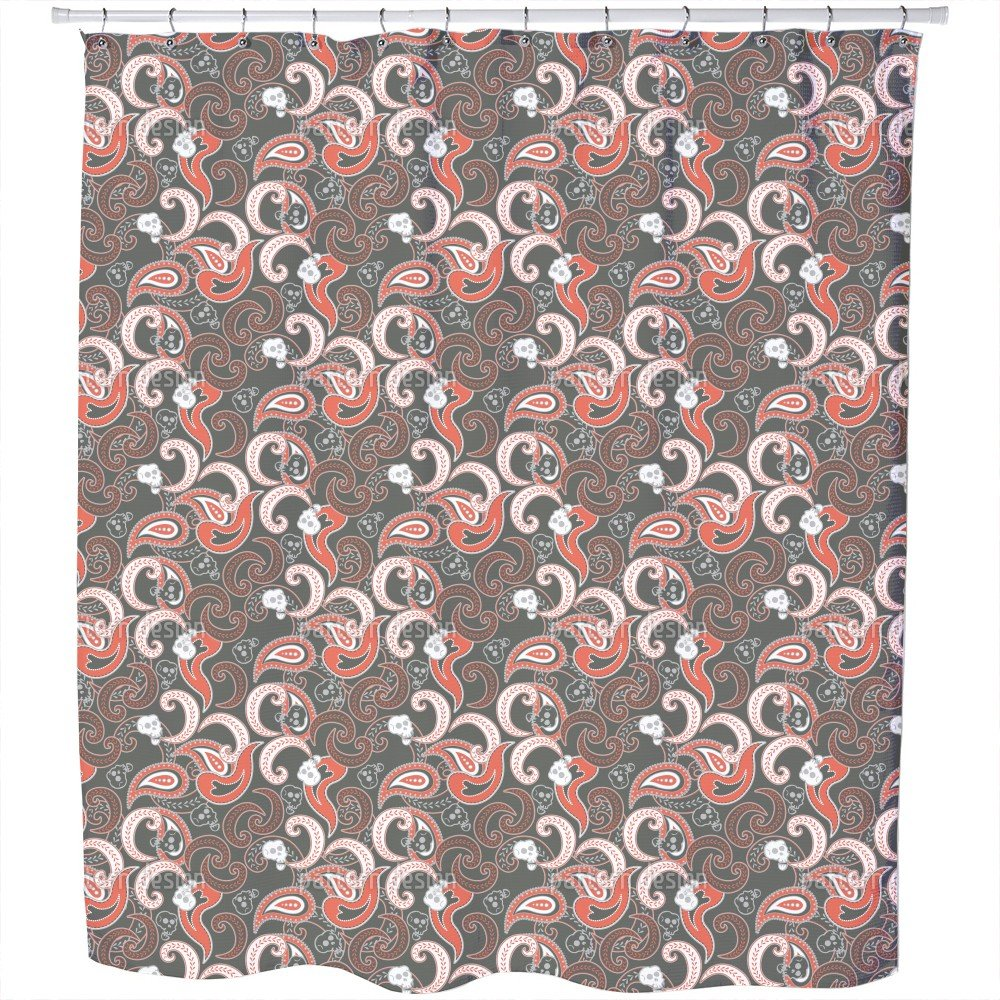 Rocking Orient Grey Shower Curtain: Large Waterproof Luxurious Bathroom Design Woven Fabric
