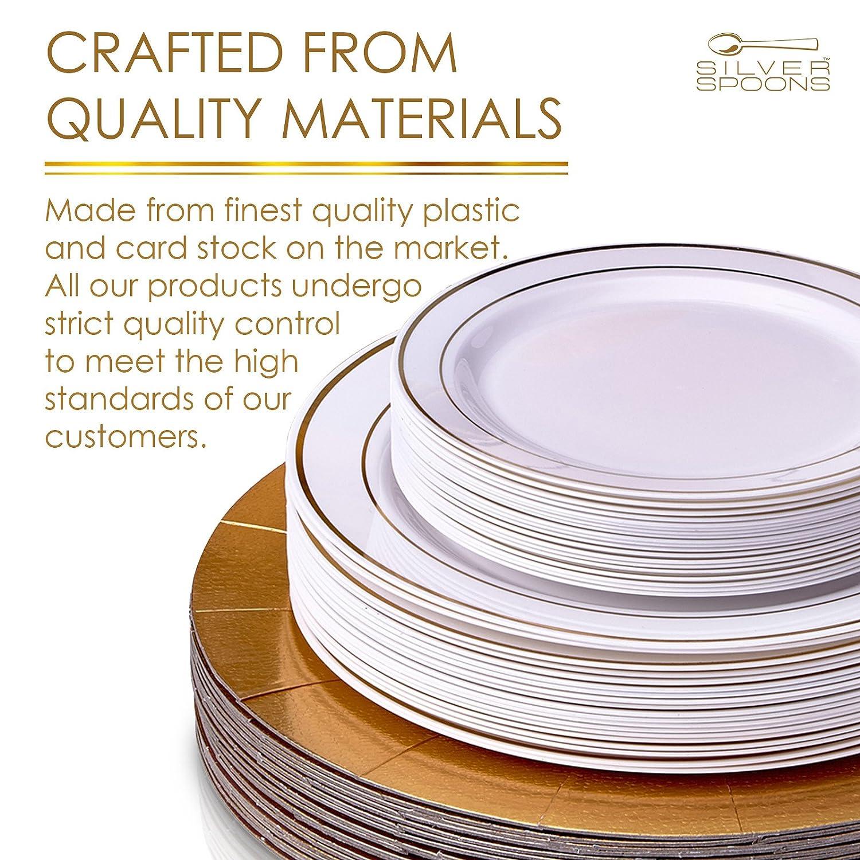 VAJILLA DESECHABLE DE 60 PIEZAS MODERNA Y ELEGANTE | Platos de plástico resistente | 20 bandejas | 20 platos grandes | 20 platos para ensalada | Para bodas ...