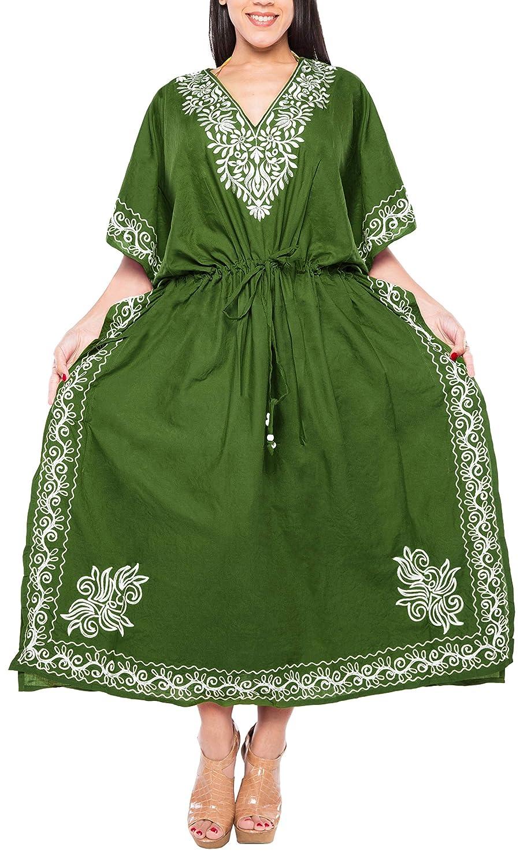 f5c1a576fc LA LEELA Solid Plus Size Caftan Dress for Women Long Olive Green_N706  14-32W at Amazon Women's Clothing store: