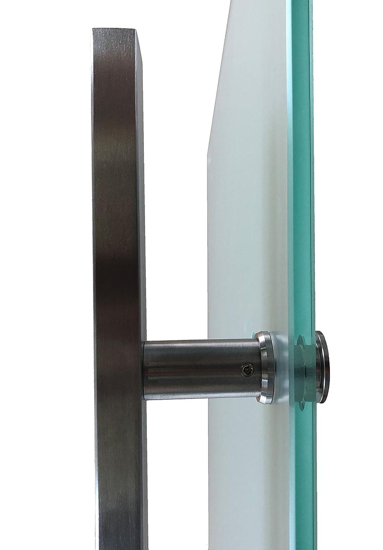 zylindrisch 900x2175, Soft-Stop Slimline Alu-Schinensystem mit Griffstange 420mm S-900-2-420EGE Wandseitig flach