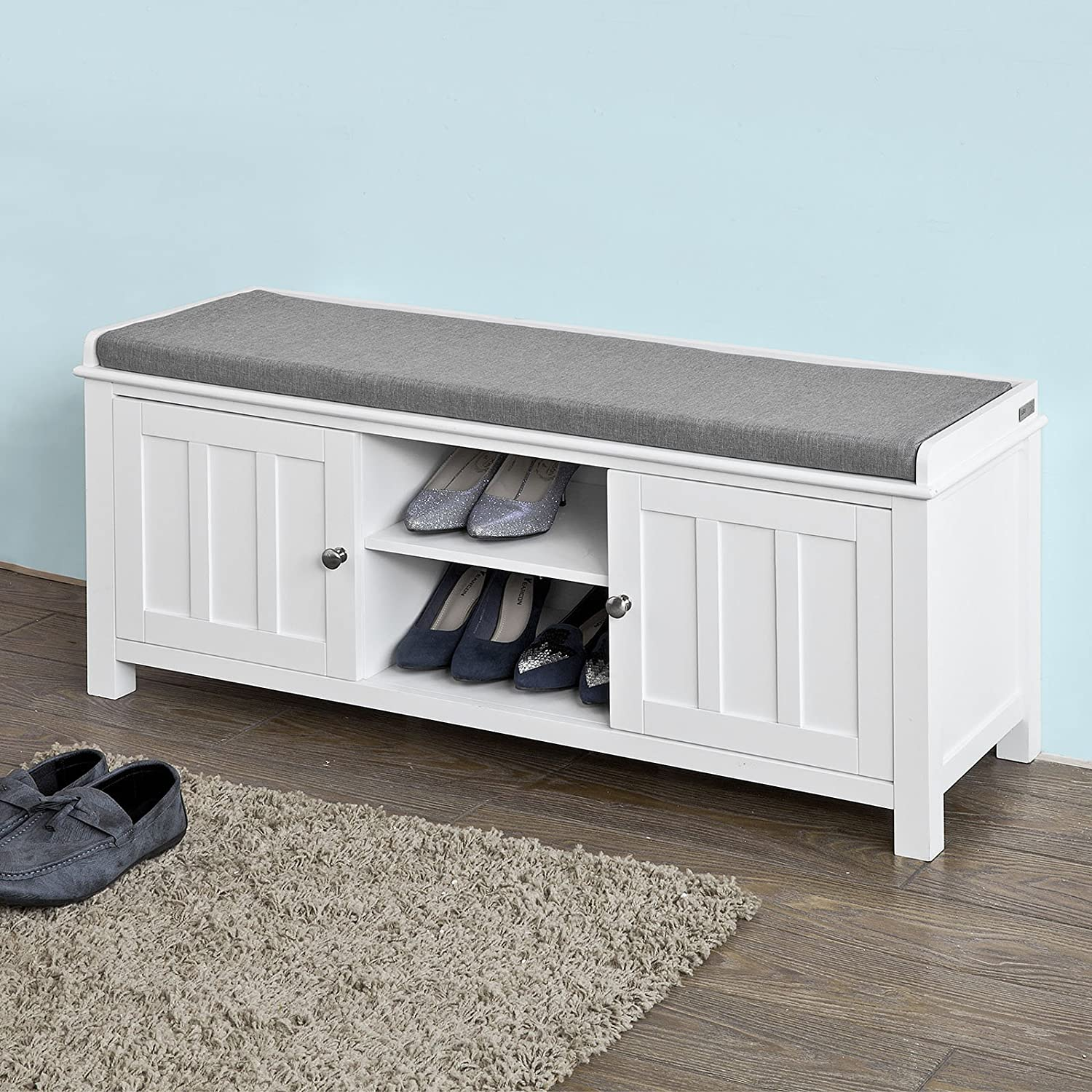 Antique Grey Entryway Storage Bench with Cushioned Seat Shoe Rack with 2 Drawers and Storage Shelf
