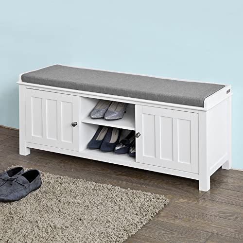 Haotian White Storage Bench with 2 Doors Removable Seat Cushion, Shoe Cabinet Shoe Bench,FSR35-W,White