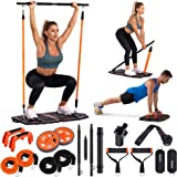 Gonex Portable Home Gym Workout Equipment with 10 Exercise Accessories Ab Roller Wheel,Elastic Resistance Bands,Push-up Stand