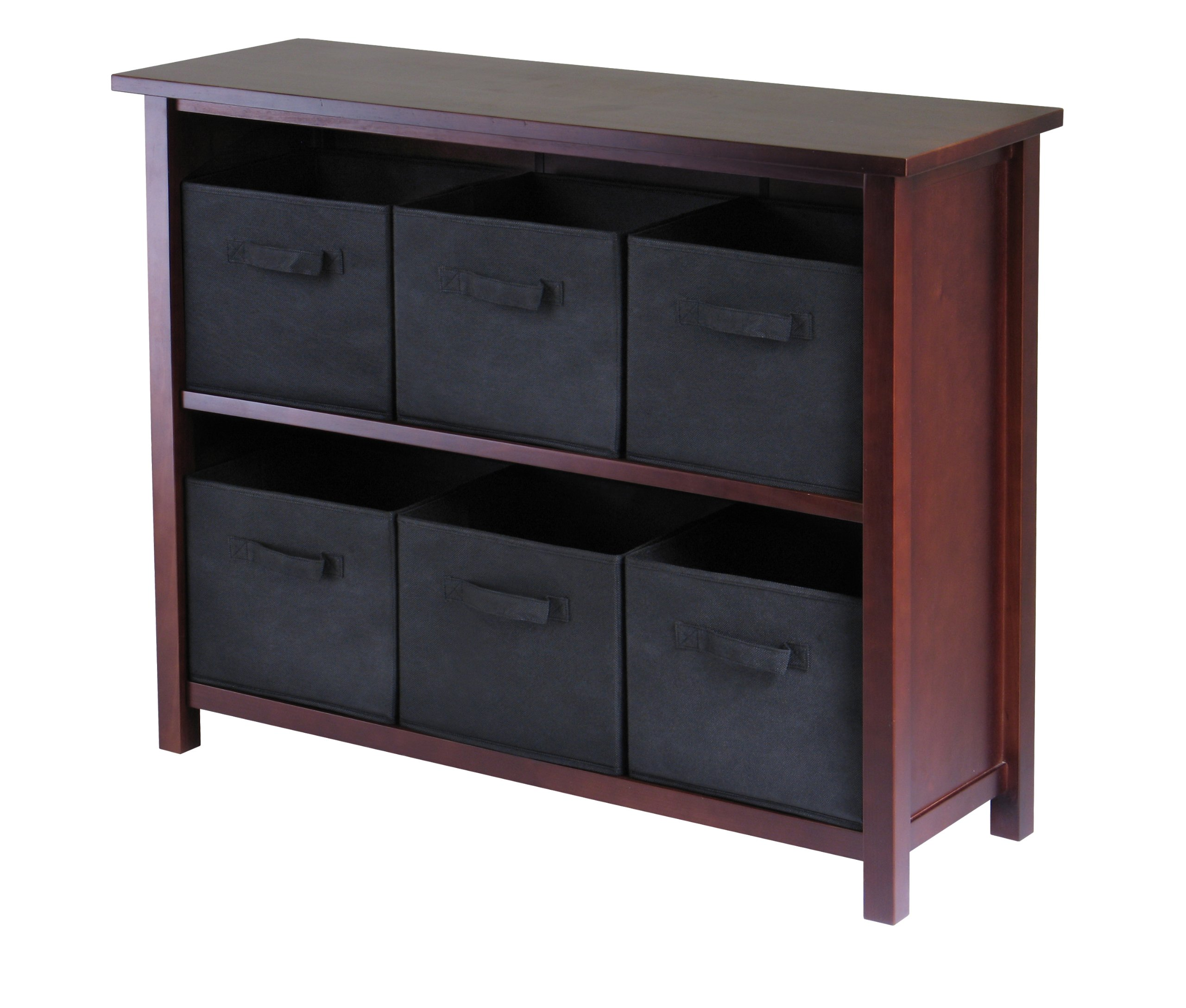Winsome Wood Verona Wood 3 Tier Open Cabinet with 6 Black Folding Fabric Baskets
