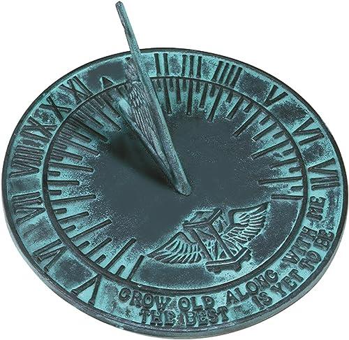 Rome 2560 New Salem Sundial, Cast Iron with Verdigris Finish, 10-Inch Diameter