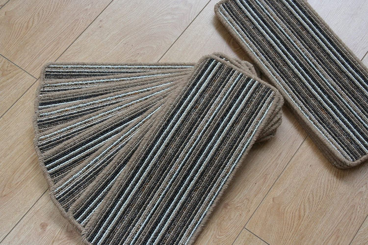 14 Stripey Open Plan Carpet Stair Treads Fancy Stripe Brown 8inc x 20inc Large Pads! austin