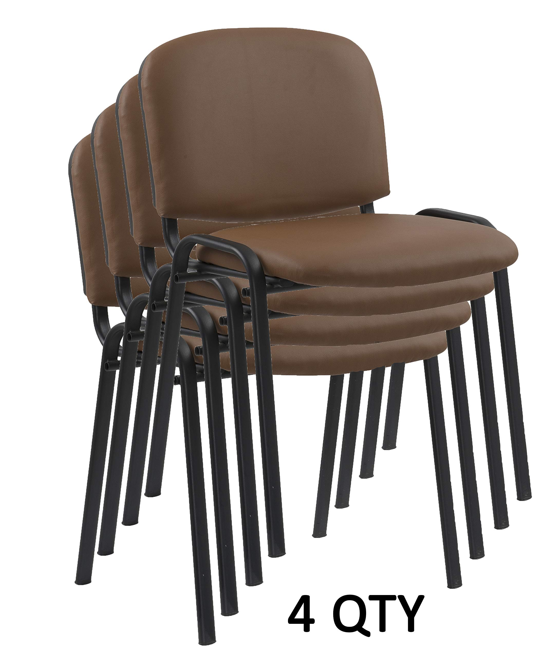 Modern Stacking Chairs in Tan/Camel PU Leather - for Office Training Boardrooms Canteens Community Centers and Home | Pack of 4 by US Office Elements