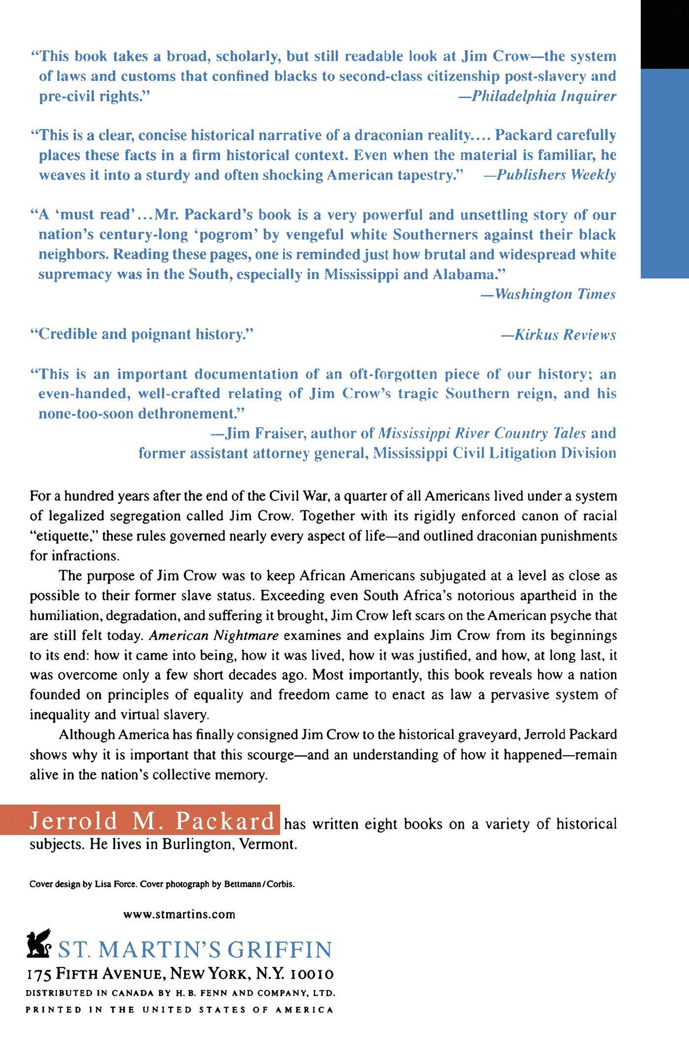 American Nightmare: The History Of Jim Crow: Jerrold M Packard, Jerrold  Packard: 9780312302412: Amazon: Books