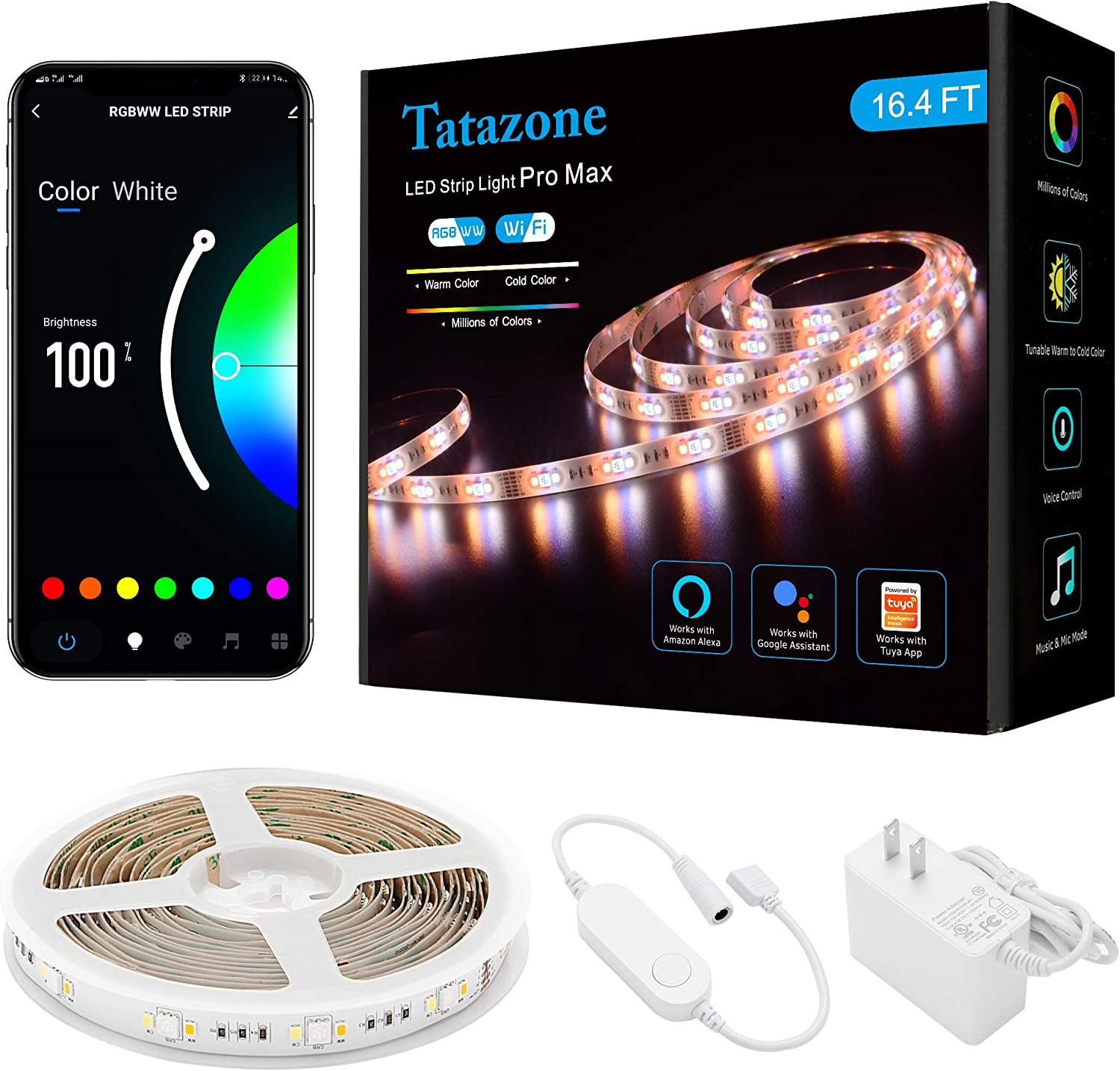 Tatazone 16.4FT RGBWW WiFi Smart Led Strip Lights, 2700K-6500K Warm White Cool White Led Light Strips with Alexa Google, Music Sync Color Changing Led Lights for Mirror, Bedroom, Kitchen, Ceiling, TV
