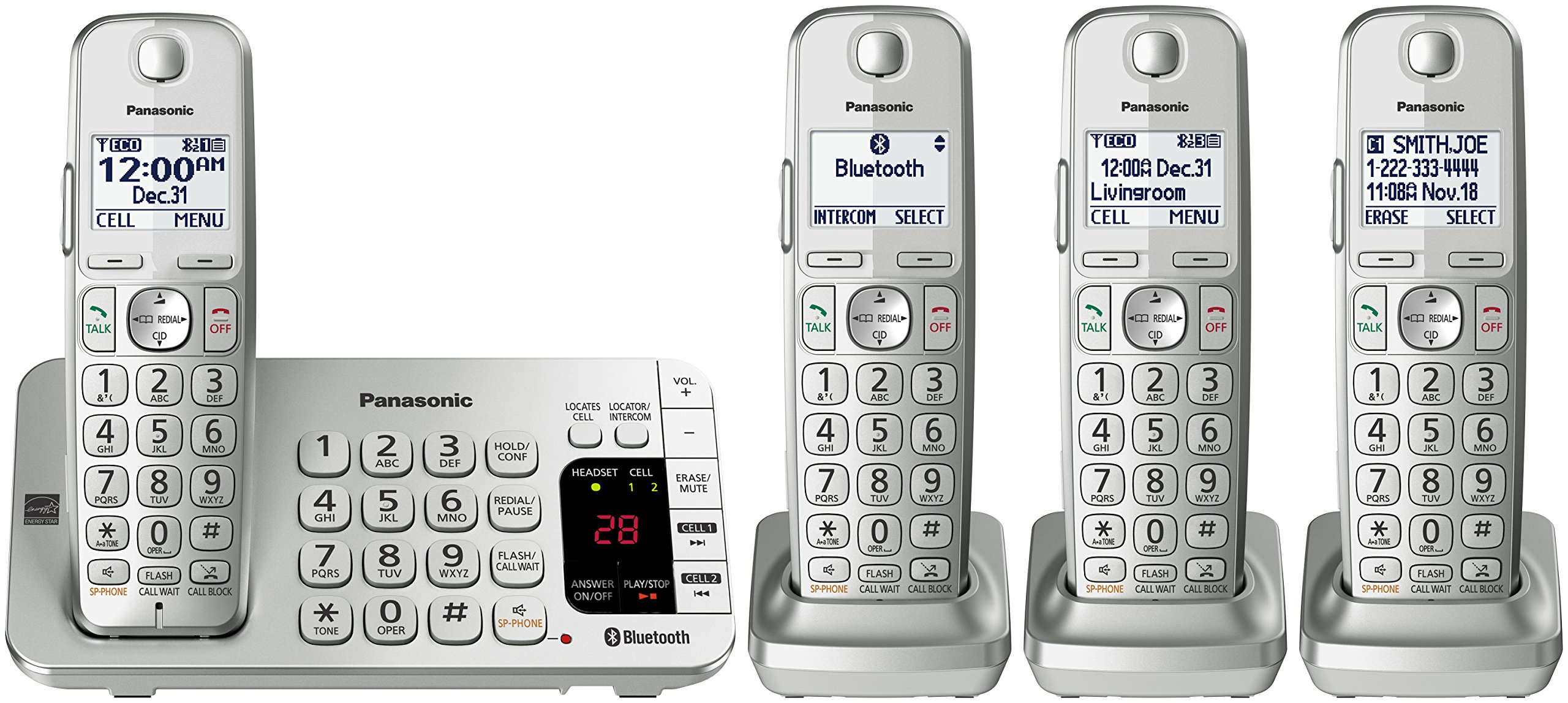 PANASONIC Link2Cell Bluetooth Cordless DECT 6.0 Expandable Phone System with Answering Machine and Enhanced Noise Reduction - 4 Handsets - KX-TGE474S (Silver) by Panasonic