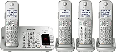 PANASONIC Link2Cell Bluetooth Cordless DECT 6 0 Expandable Phone System  with Answering Machine and Enhanced Noise Reduction - 4 Handsets -  KX-TGE474S