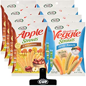 Sensible Portions Veggie Straws Bundle, 8 Count 1 Ounce Bags, 2 Different Flavors with By The Cup Chip Clip