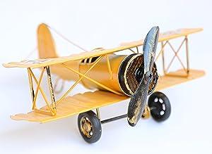 Vintage Retro Iron Aircraft Handicraft - Metal Biplane Plane Aircraft Models -The Best Choice for Photo Props Home Decor/Ornament/Souvenir Study Room Desktop Decoration (Yellow)