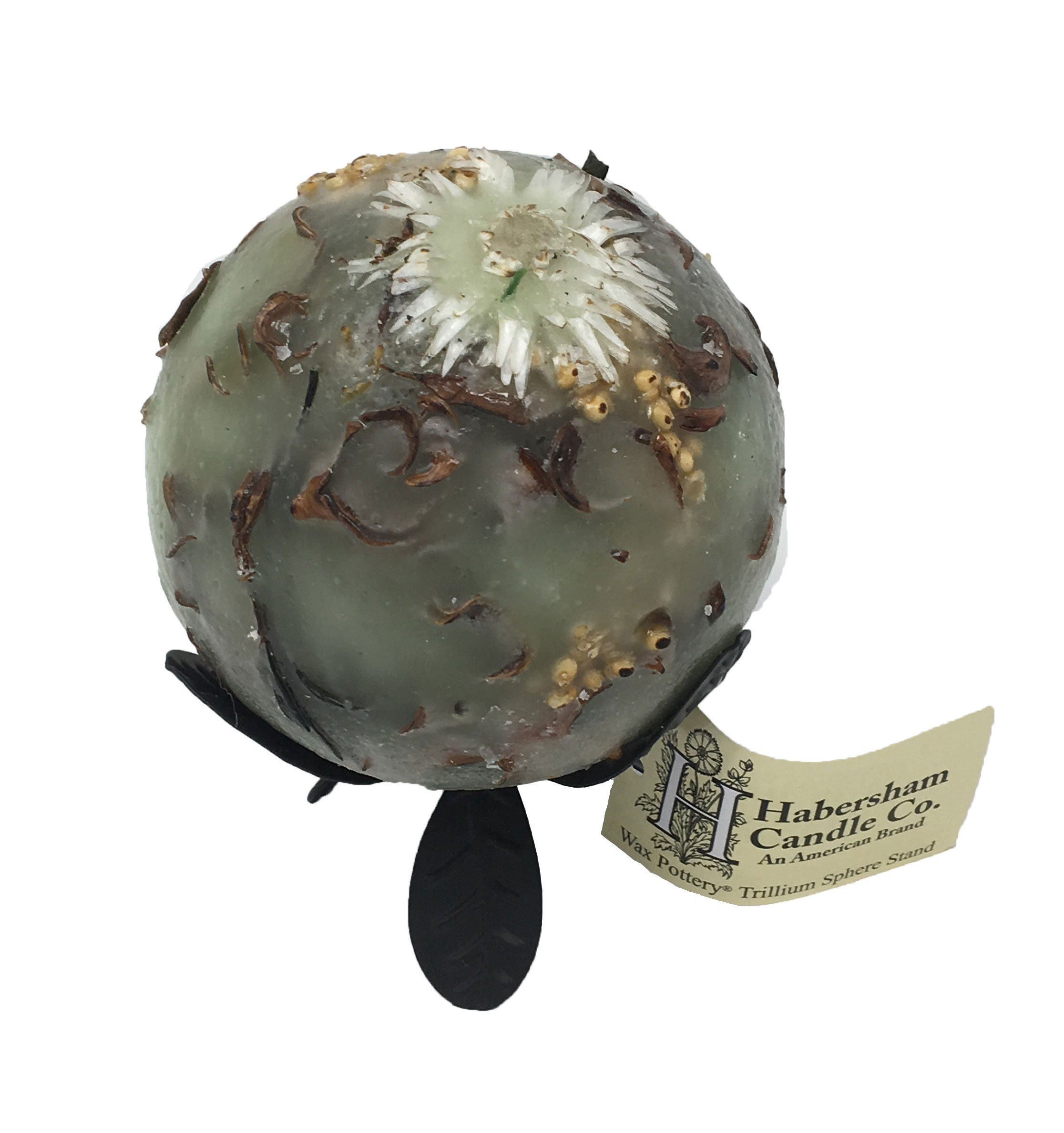 Habersham Candle Wax Pottery Spheres, 4-Inch Diameter with Black Trillium Stand, Habersham Sage