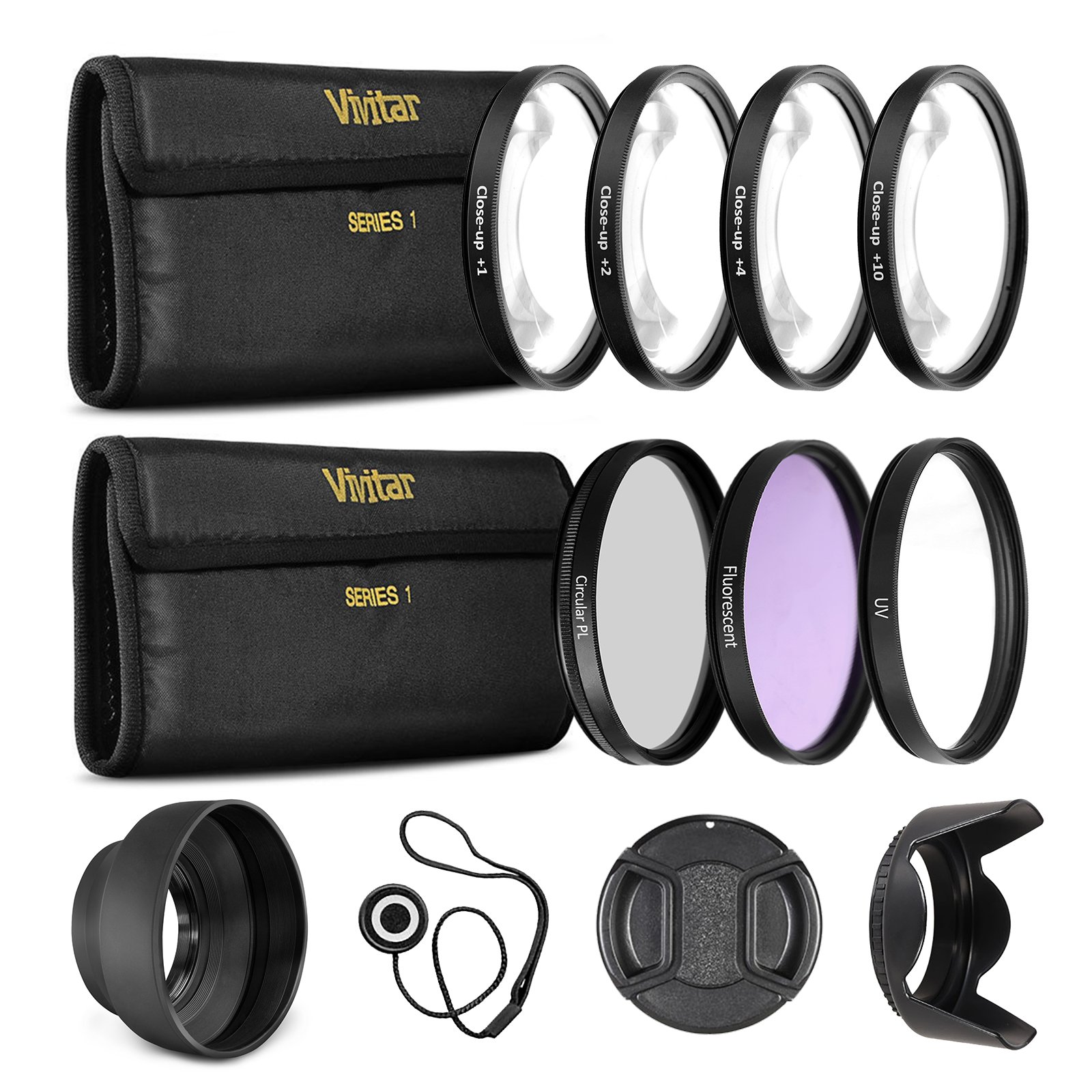 55mm UltraPro Professional Filter Bundle for Lenses with a 55mm Filter Size - Includes 7 Filters (UV, CPL, FL-D, +1, +2, +4, +10 Macro Close-Up Filters), Lens Hoods, & More by UltraPro