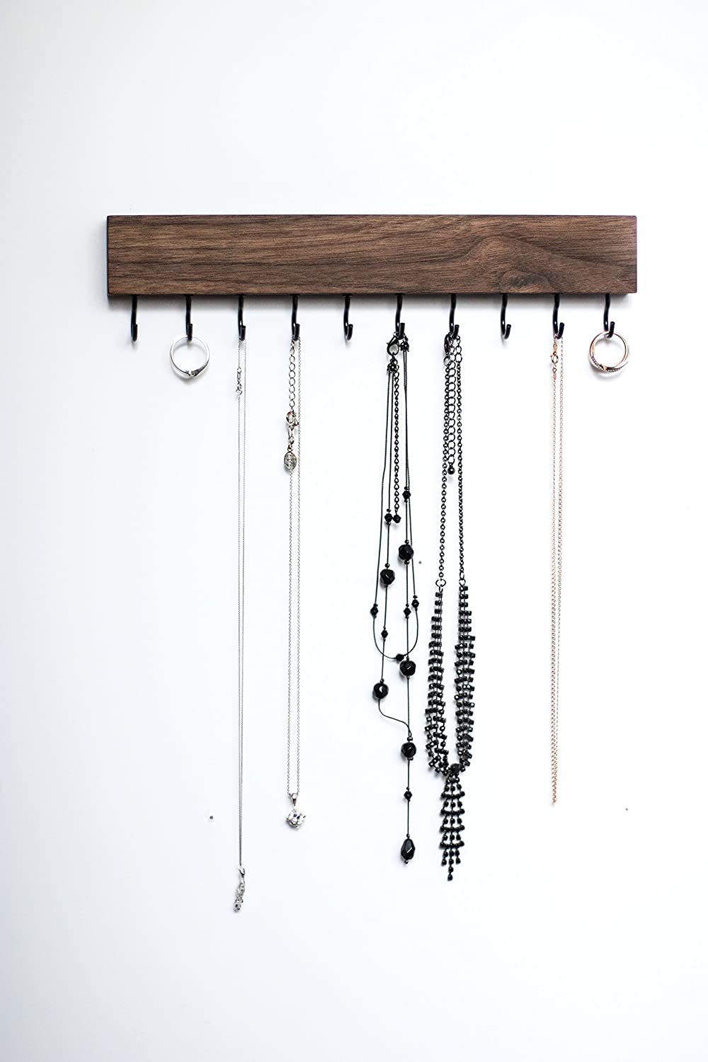 SOLID WALNUT WOOD Wall Jewelry Organizer/Necklace Handmade Holder Hooks Key Holder Hanging Stand Rustic Decor/Best gift idea / 10 black hooks