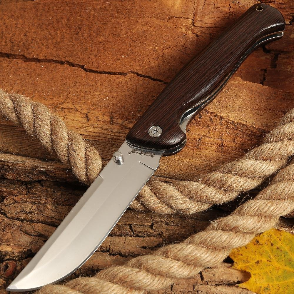 Folding Knife - Classic Pocket Knife with Wooden Inlays on Handle for EDC and Outdoor - Grand Way FB 628 by Grand Way (Image #1)