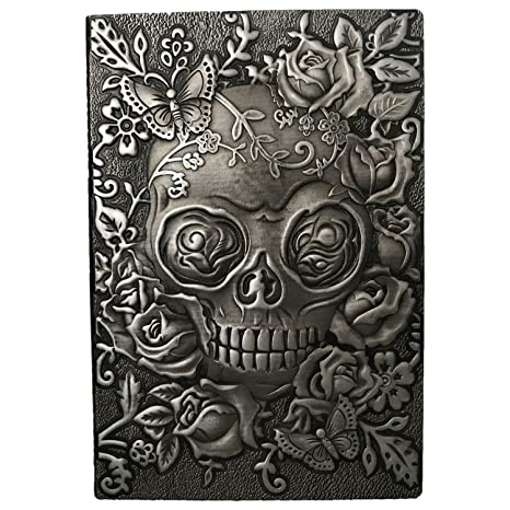ZYWJUGE Embossed Leather Travel Journals Vintage Handcraft Embossed Skull Antique Diary Notebook (A5, Silver)