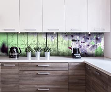 Küchenrückwand Holz Blüten Zweig Nischenrückwand Spritzschutz Design ...