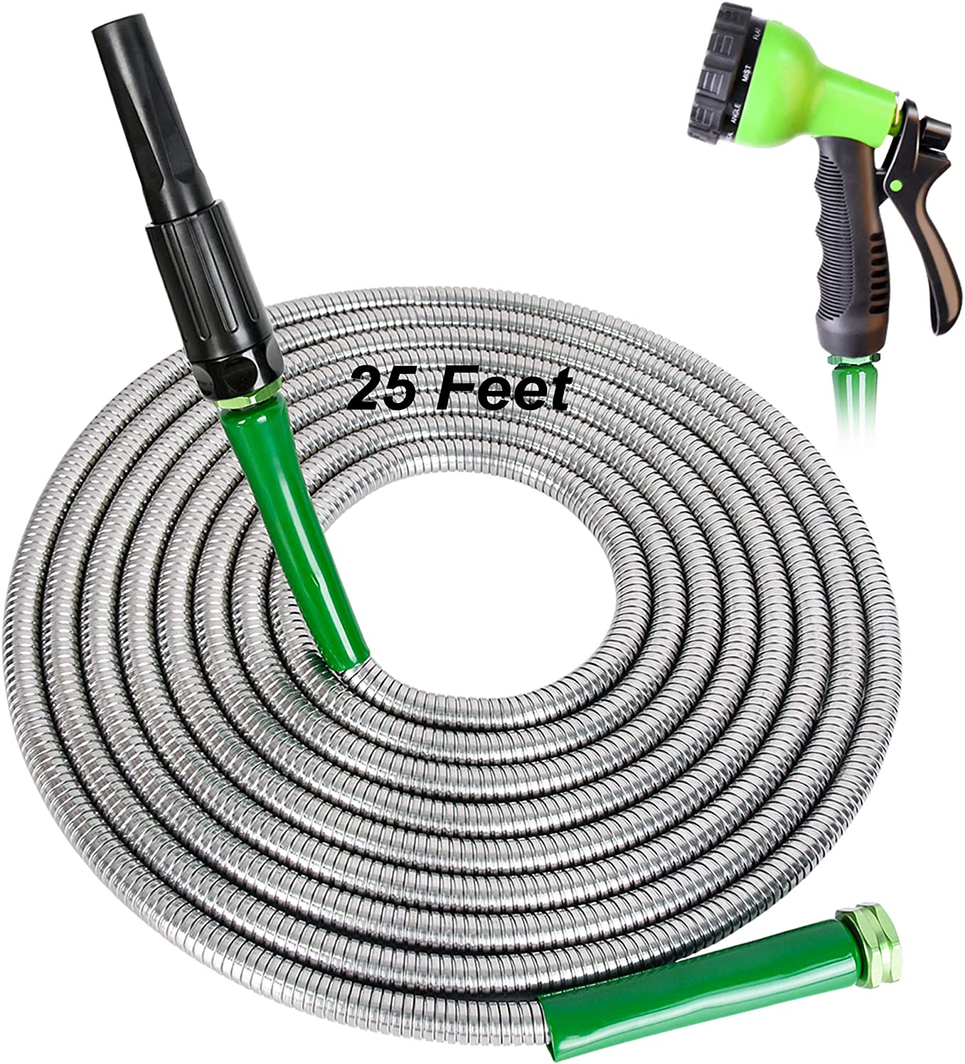 FUDESY 25 Feet 304 Stainless Steel Metal Garden Hose - 10-Ways Spray Nozzle | One More Adjustable Nozzle | Leakproof Gasket,Anti-Corrosion Kinkproof Water Hose for Garden,House,Pet