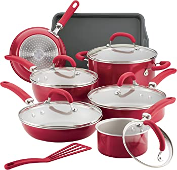 Rachael Ray 13-Piece Aluminum Cookware Set (Red Shimmer)