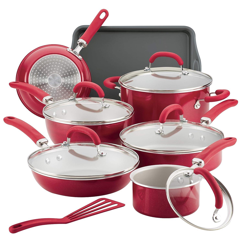 Rachael Ray 12147 13-Piece Aluminum Cookware Set, Red Shimmer