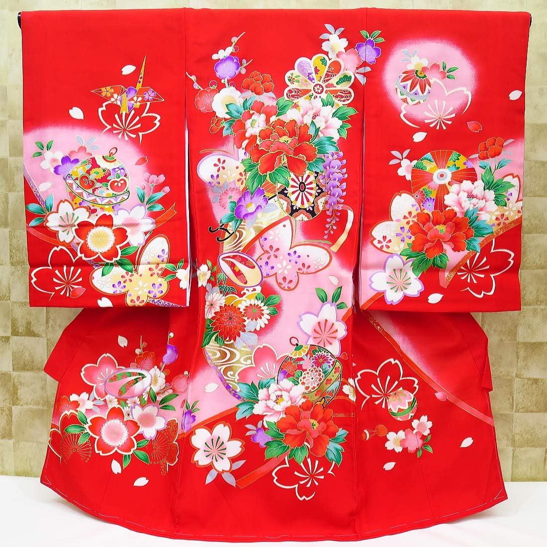 【花車と蝶・桜・赤ピンクぼかし】女児 初着 祝着 のしめ 産着 女の子のお宮参り着物