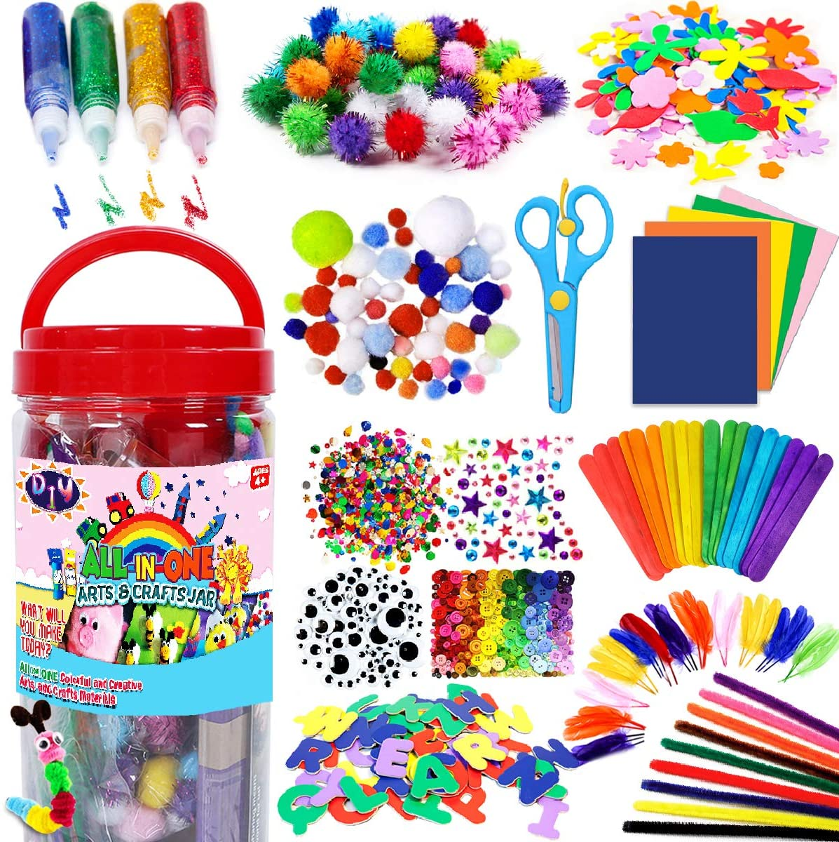 Amazon Com Funzbo Arts And Crafts Supplies For Kids Craft Art Supply Kit For Toddlers Age 4 5 6 7 8 9 All In One D I Y Crafting School Kindergarten Homeschool Supplies