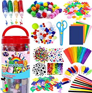 FunzBo Arts and Crafts Supplies for Kids - Craft Art Supply Kit for Toddlers Age 4 5 6 7 8 9 - All in One D.I.Y. Crafting School Kindergarten Homeschool Supplies Arts Set Christmas Crafts for Kids