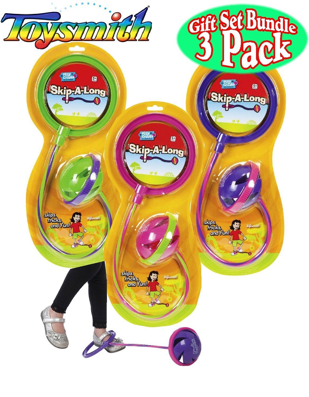 Toysmith Skip-A-Long Purple/Pink, Green/Purple & Pink/Green Complete Gift Set Bundle - 3 Pack by Toysmith (Image #1)
