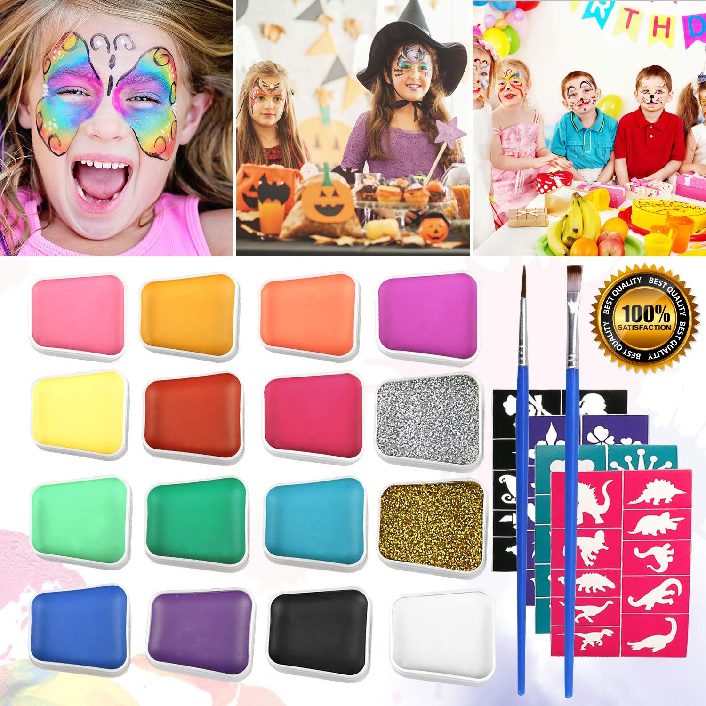 Emooqi Trucco Viso Bambini la 16 colori per bambini,Qualità Professionale Vernice per Trucco di Bambini con 2 pezzi di Polvere per Glitter + 2 Pennelli + 40 stencil per i tuoi adorabili regali per bambini, a base d'acqua, facilmente rimovibili, non tossici