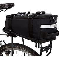 BTR Deluxe fietstas, bagagedragertas, waterdichte en reflecterende beschermhoes, zwart, met geïntegreerde schouderriem…