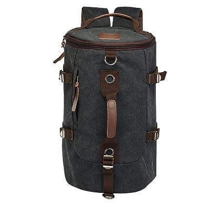 27bd5bc96d Amazon.com   LUXUR Retro Duffel Cylinder Bag Canvas Travel Backpack Hiking  Shoulder Handbag   Everything Else